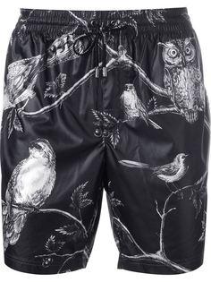шорты для плавания с принтом птиц Dolce & Gabbana