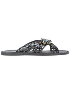 glittered crossed sandals Car Shoe