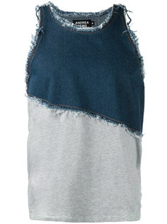 frayed denim tank Andrea Crews