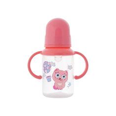 Бутылочка с ручками и силиконовой соской,125 мл, Kurnosiki, розовый Курносики