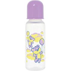 """Бутылочка с латексной соской """"Мои любимые животные"""", 250 мл, Kurnosiki, фиолетовый Курносики"""