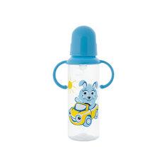 Бутылочка с ручками и силиконовой соской,250 мл, Kurnosiki, голубой Курносики