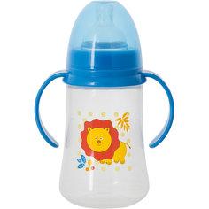 Бутылочка для кормления с ручками и силиконовой соской Лев, 250 мл, Kurnosiki, синий Курносики