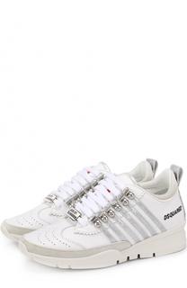 Кожаные кроссовки с декором Dsquared2