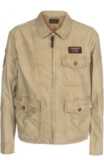Хлопковая куртка на молнии с отложным воротником и накладными карманами Polo Ralph Lauren