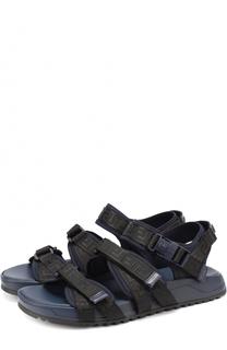 Резиновые сандалии с текстильными ремешками Versace