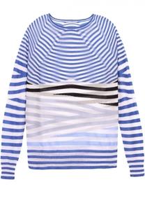 Полупрозрачный пуловер в контрастную полоску с круглым вырезом Giorgio Armani