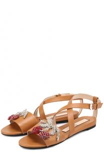 Кожаные сандалии с аппликацией No. 21