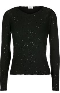 Хлопковый пуловер с пайетками Armani Collezioni