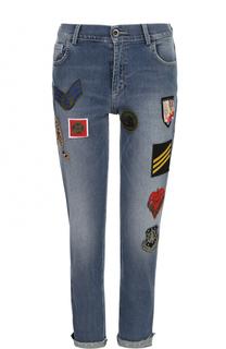 Укороченные джинсы с контрастными нашивками и отворотами Mr&Mrs Italy