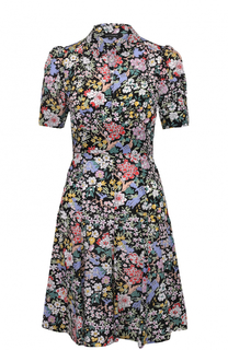 Шелковое приталенное платье-рубашка с цветочным принтом Tara Jarmon