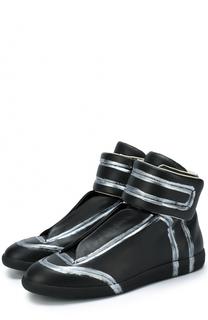 Высокие кожаные кеды Future на шнуровке с застежкой велькро Maison Margiela