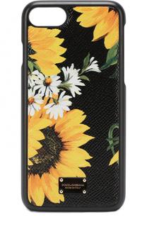 Кожаный чехол для iPhone 7 с цветочным принтом Dolce & Gabbana