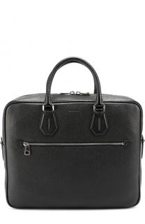 Кожаная сумка для ноутбука с внешним карманом на молнии Bally