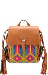 Рюкзак с отделкой текстилем Roberto Cavalli