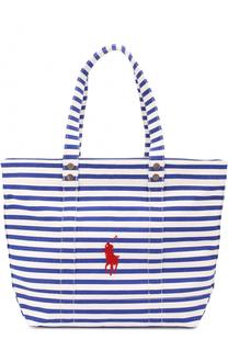 Текстильная сумка-тоут Big Pony в полоску Polo Ralph Lauren