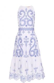 Хлопковое платье-миди с контрастной вышивкой Tory Burch