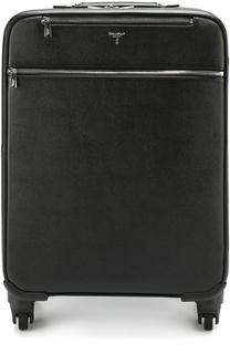 Кожаный дорожный чемодан с внешними карманами на молнии Serapian