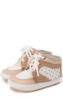 Высокие кожаные кроссовки с перфорацией в виде звезд Chloé