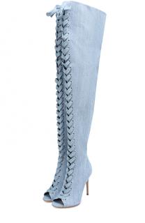 Ботфорты Marie из денима на шнуровке Gianvito Rossi