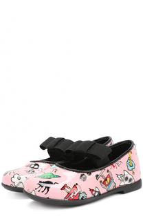 Лаковые туфли с принтом и бантом Fendi Roma