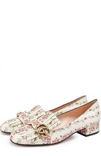 Кожаные туфли Marmont с цветочным принтом Gucci