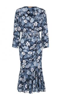 Шелковое платье с юбкой годе и цветочным принтом Michael Kors