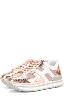 Комбинированные кроссовки из металлизированной кожи Hogan