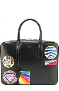 Кожаная сумка для ноутбука с контрастными аппликациями Saint Laurent