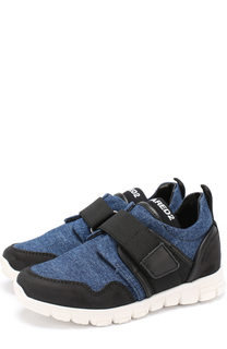 Комбинированные кроссовки с отделкой из денима и застежкой велькро Dsquared2