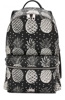 Текстильный рюкзак Vulcano с принтом и отделкой из натуральной кожи Dolce & Gabbana