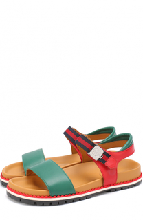 Кожаные сандалии с ремешком Gucci