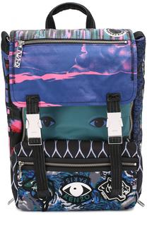 Текстильный рюкзак с клапаном и отделкой из натуральной кожи Kenzo