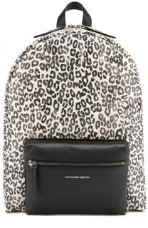 Кожаный рюкзак с анималистичным принтом Alexander McQueen