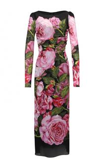 Шелковое платье-миди с юбкой годе и цветочным принтом Dolce & Gabbana