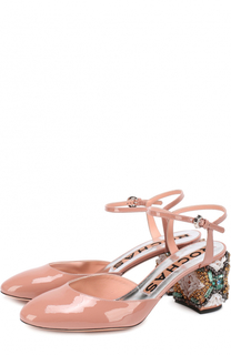 Лаковые туфли на декорированном каблуке Rochas