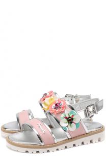 Кожаные сандалии с отделкой из металлизированной кожи и декором Simonetta
