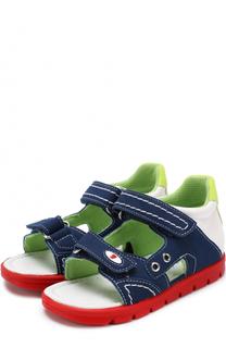 Комбинированные сандалии с застежками велькро и прострочкой Falcotto
