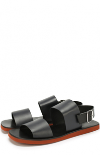 Кожаные сандалии с широкими ремешками Marni
