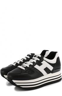 Кожаные кроссовки на контрастной платформе Hogan