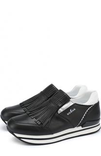 Кожаные кроссовки с бахромой Hogan