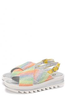 Кожаные сандалии со стразами Simonetta