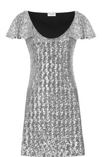 Мини-платье А-силуэта с пайетками Saint Laurent
