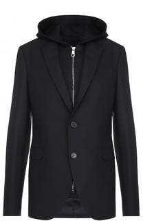 Шерстяной однобортный пиджак с подстежкой на молнии Neil Barrett