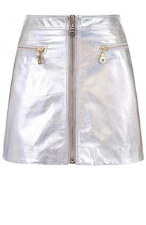 Кожаная мини-юбка с металлизированной отделкой Kenzo