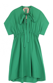 Мини-платье с завышенной талией и воротником аскот No. 21