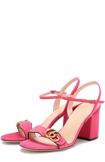 Замшевые босоножки Marmont на устойчивом каблуке Gucci