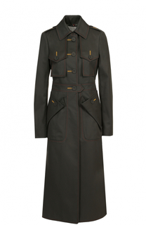 Приталенное пальто с контрастной прострочкой и накладными карманами Marco de Vincenzo