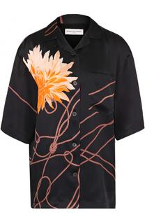 Шелковая блуза с укороченным рукавом и цветочным принтом Dries Van Noten