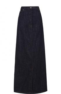 Джинсовая юбка-макси с контрастной прострочкой и карманами Dries Van Noten